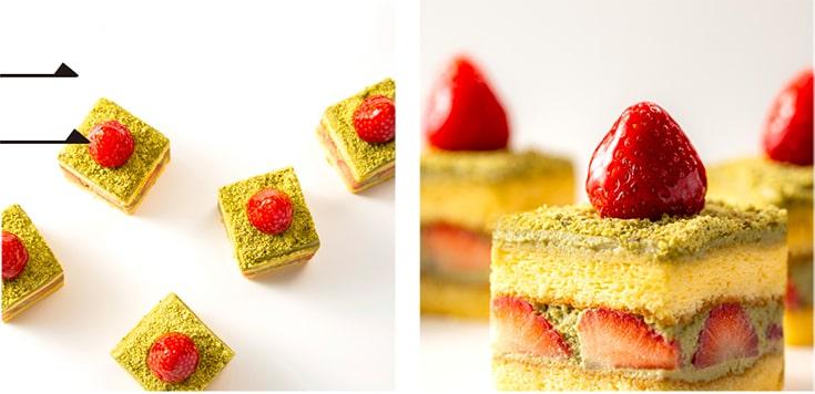 ピスタチオと苺のショートケーキ